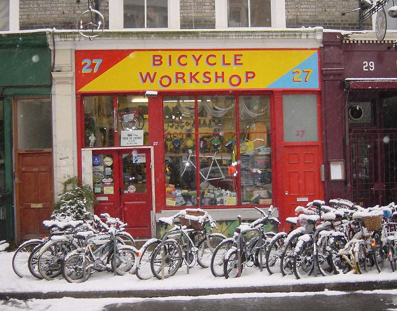 Bicycle Workshop in the Winter Snow